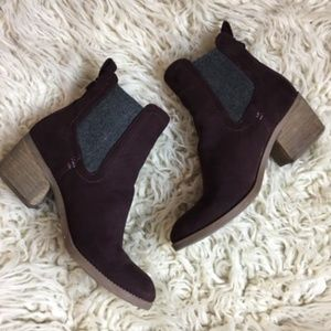 Dolce Vita Maroon Faux Suede Modern Booties Ankle